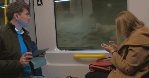 Passengers of Stockholm Subway with Gadgets Footage
