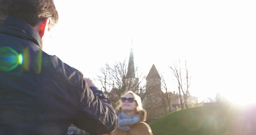 Adult Couple Travelling In Tallinn Stock Video Footage
