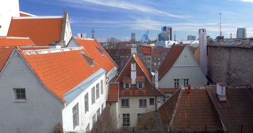 Houses of Tallinn With Red And Orange Roofs Footage
