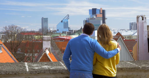 Couple Watching the Scenery of Old and Modern Tallinn Footage
