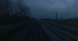Leaving railway at night Footage