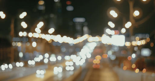 Night Traffic Lights Of The Big City Footage