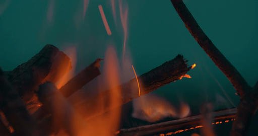 Bonfire Against Dark Night Sky Footage