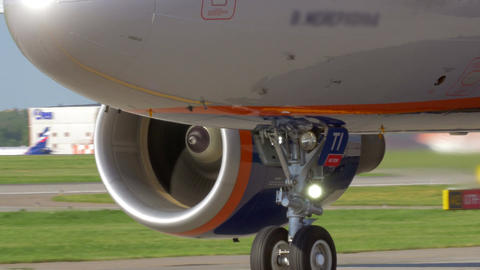 Airplane with view to engines and landing gears Footage