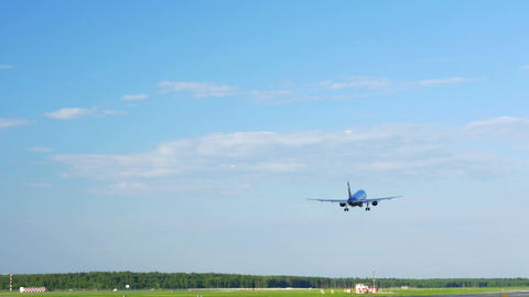 Plane Fly Up Over Take-Off Runway Footage