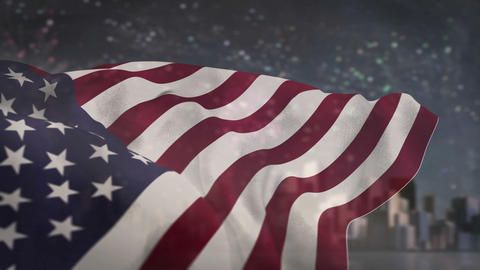 American flag blowing against fireworks Animation
