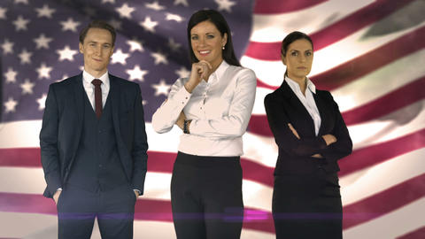 Business team against american flag Animation