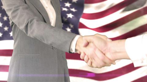 Business handshake against american flag Animation