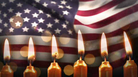 Candles against american flag Animation
