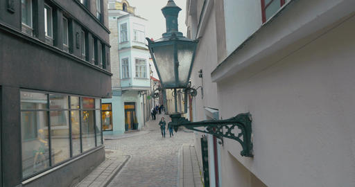 Old-Style Lamp of Street Lighting Footage