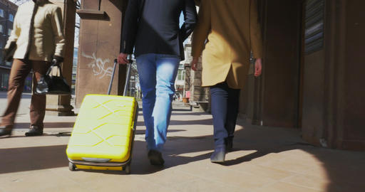 Two Tourists with Trolley Bag Footage