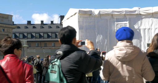 Tourists Watching Guard Mount of the Royal Cavalry of Sweden Footage