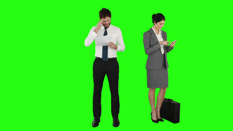 Business people on phone and reading documents Footage
