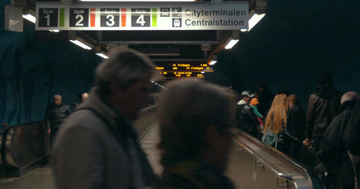Underground Walkway in Stockholm Subway Footage