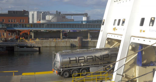 Tank Truck Boarding the Ferry Boat Footage