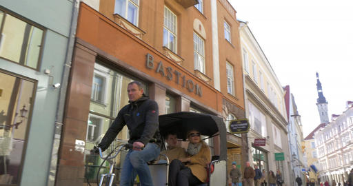 Bike Taxi Riding in Tallinn Footage