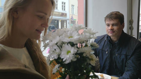Young couple having a date in cafe Footage