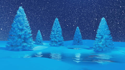 Winter night landscape with firs and frozen lake at snowfall Animation