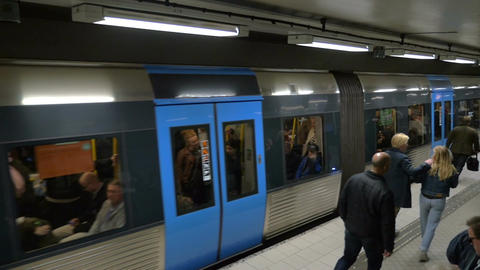 Departure of the Train in Stockholm Metro Live Action