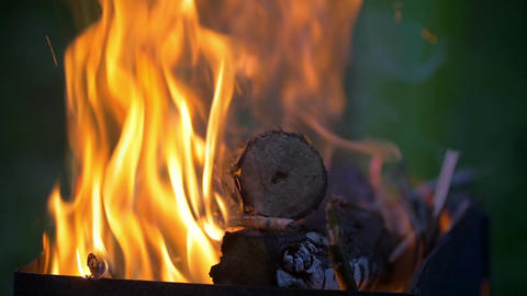 Firewood burning in the furnace Footage