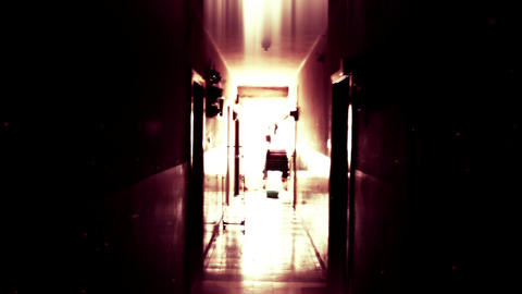 4K Scary Lunatic Sanitarium Corridor 4 ghost flicker Footage