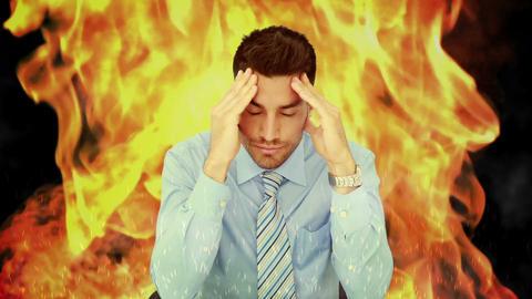Stressed businessman with headache Animation
