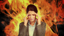 Stressed businesswoman with headache Animation
