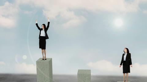 Composite video of businesswoman on podium Animation
