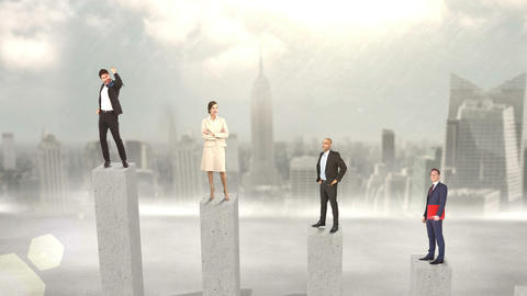 Composite video of business people on podium Animation