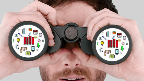Man looking through binoculars Animation