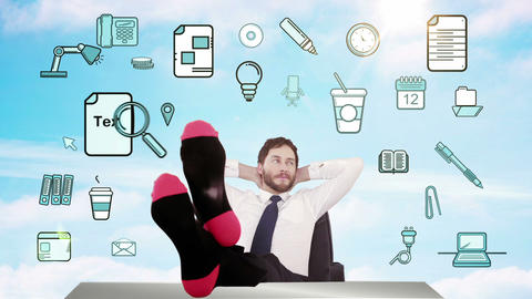 Businessman relaxing himself at desk Animation
