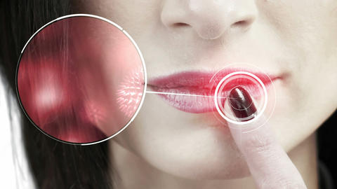 Close up view of a woman touching her lips Animation