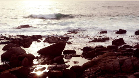 Waves crashing on rocks Footage