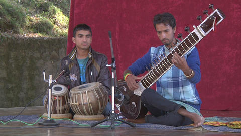 NAGGAR, INDIA – SEP 3, 2011: Musical Performance, Musicians Playing Traditiona Footage