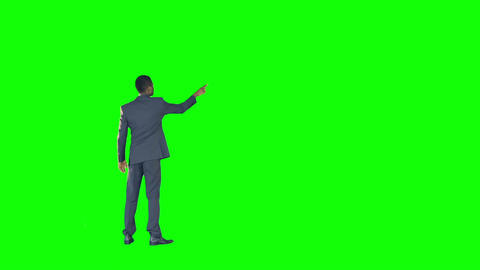 Rear view of a businessman gesturing Live Action