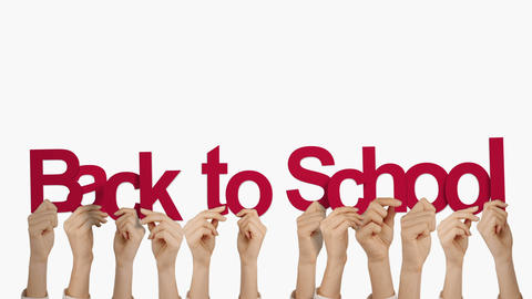 Hands holding up back to school Animation