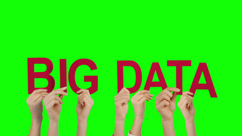 Hands holding up big data Animation
