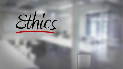 Businessman ticking ethics checklist Animation