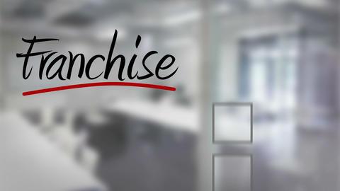 Businessman ticking franchise checklist Animation