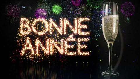 Glass of champagne with fireworks on background Footage