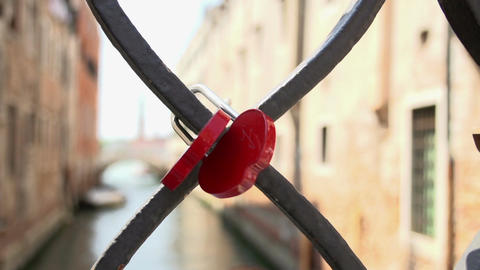 Love locks at bridge at Campiello Drio La Pieta in Venice Footage