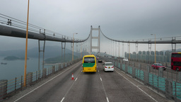 Drive along huge suspension bridge, fine roadway perspective Footage