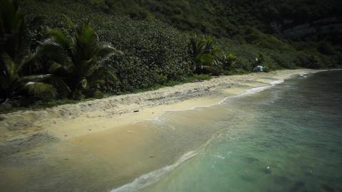 Aerial Shot : Tropical Island, Beach, Saipan Footage