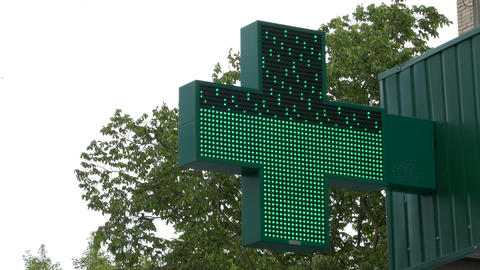 Ungraded: Flashing Pharmacy Sign stock footage