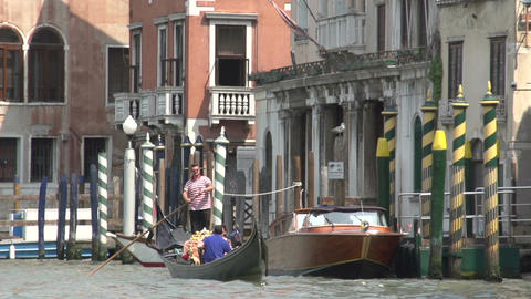Gondola in slow motion at canal in Venice Italy Footage