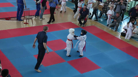 ODESSA, UKRAINE - 25th of APRIL 2015 Shinkyokushinkai Karate Championship GIF