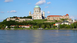 Esztergom At The Danube River, Hungaria stock footage