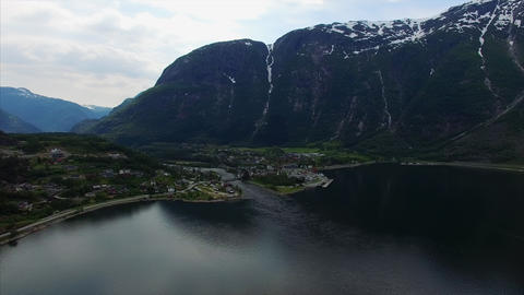 Scenic view of Hardanger fjord in Norway, aerial footage Footage