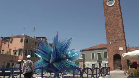 Clock Tower And Glass Sculpture In Murano stock footage