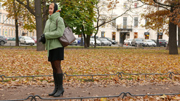 Girl Stay Upset Emotion, Shake Hands And Go Away, Autumn Park Environment stock footage